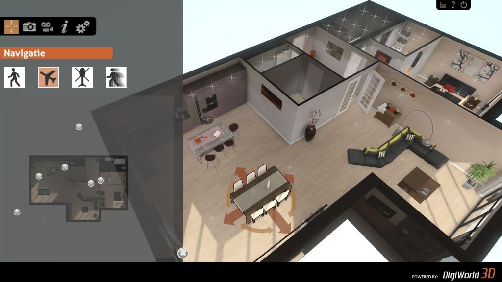 Snel navigeren met de mini-map door de interactieve 3D presentatie
